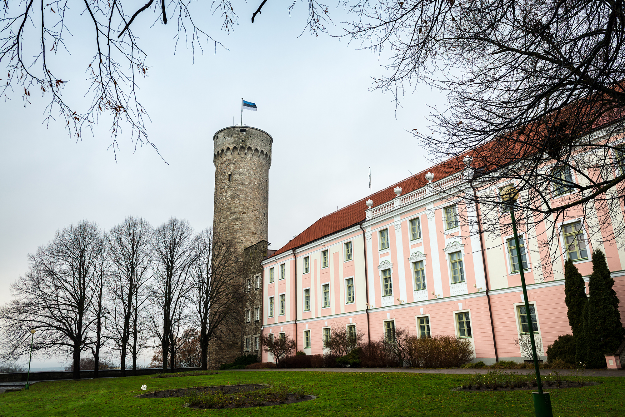 Side view of the Parlament of Estonia in Toompea's Hill