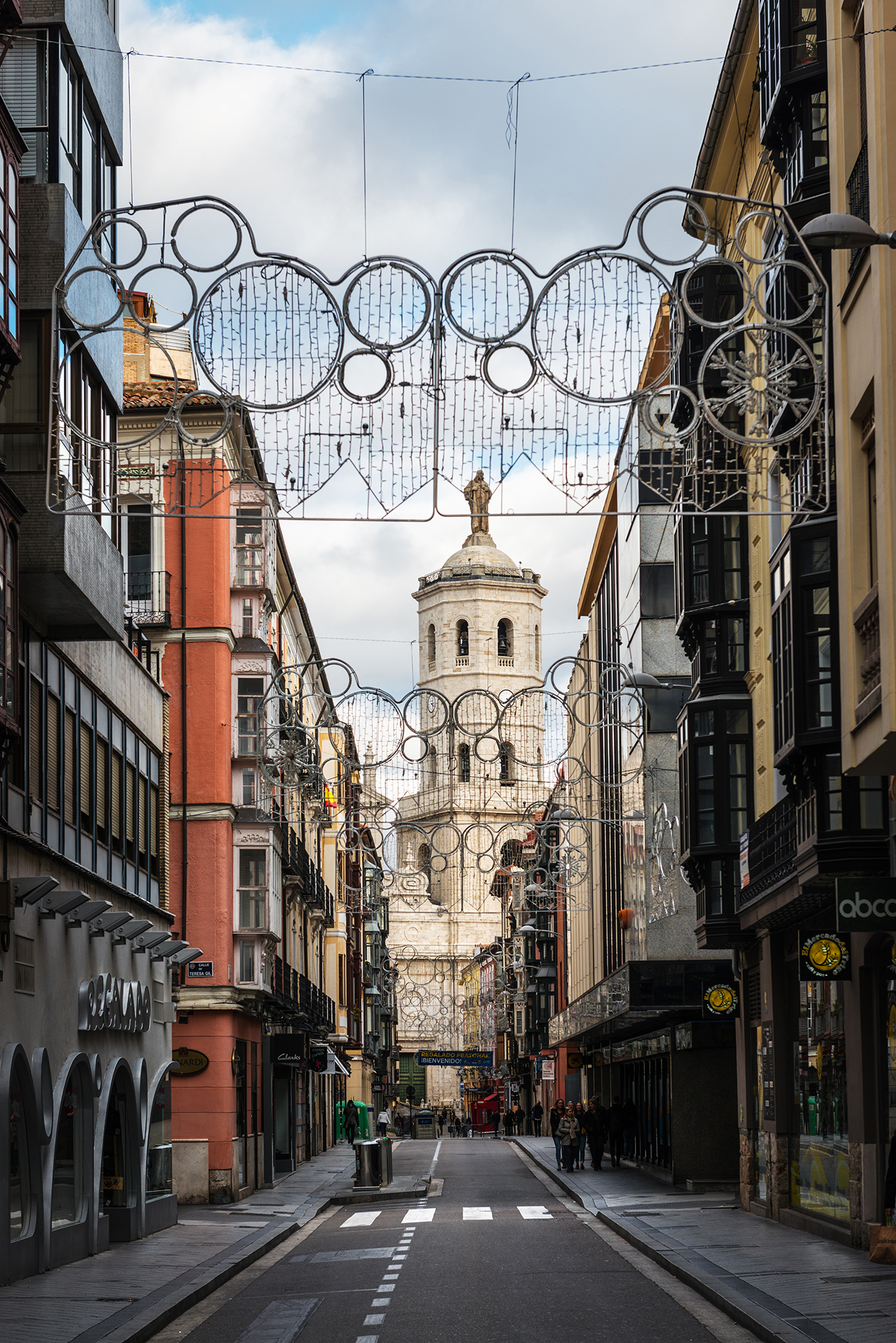 Tower of Valladolid's Cathedral as seen through the narrow streets in the city center