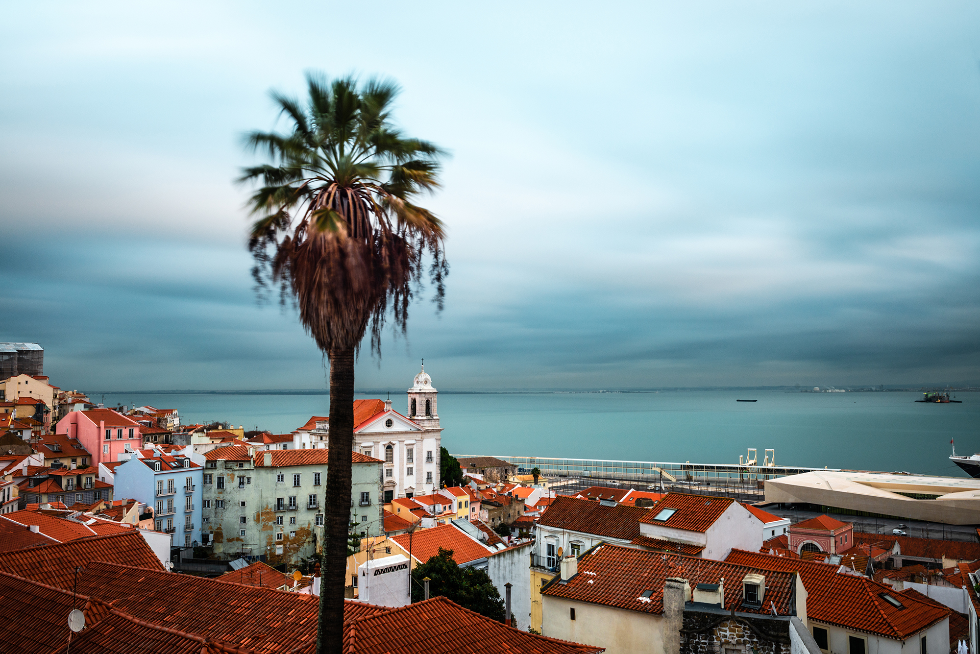 Panorama view of the rooftops of Alfama district in Lisbon
