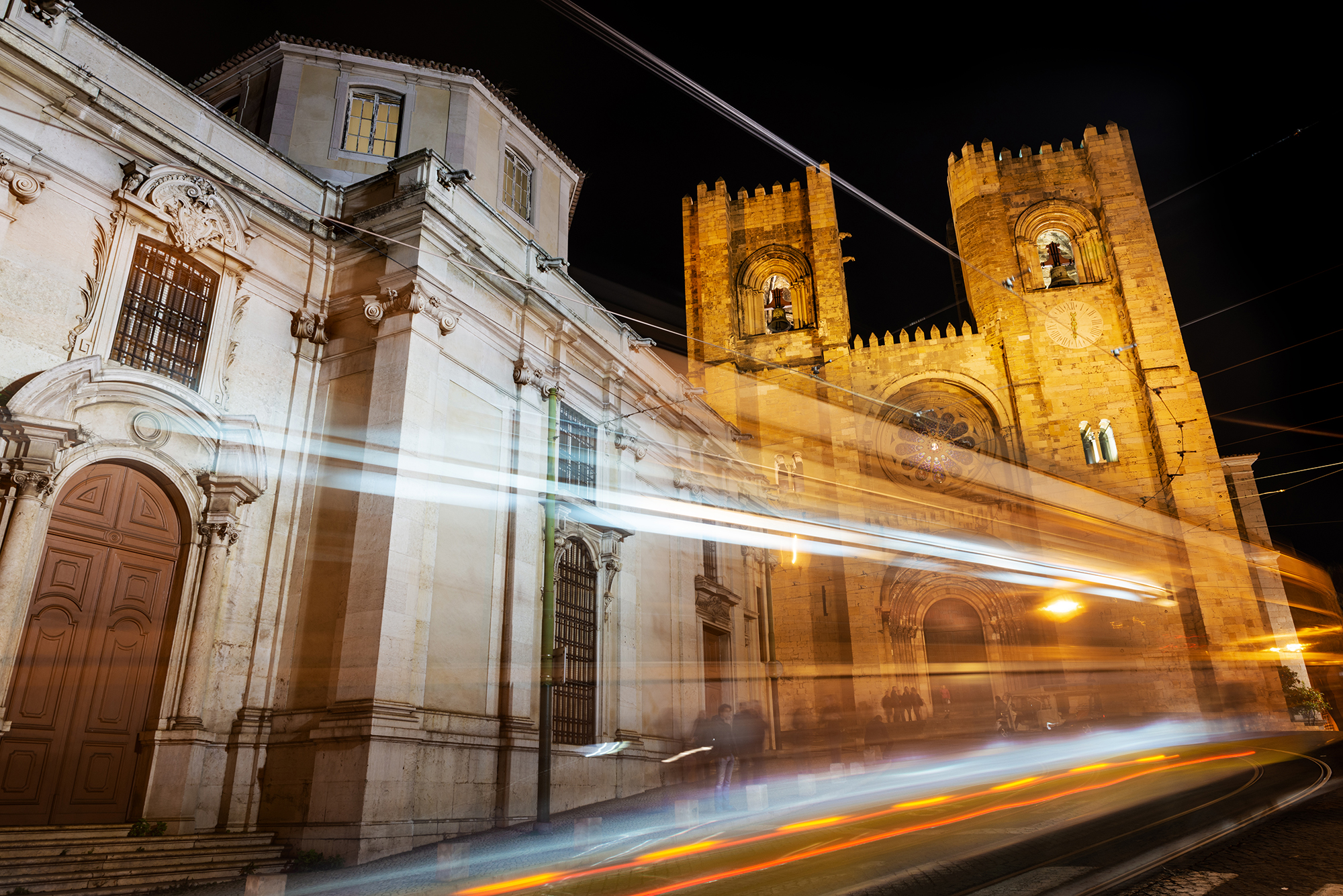 Facade of the famous Lisbon Cathedral (Sé) illuminated at night