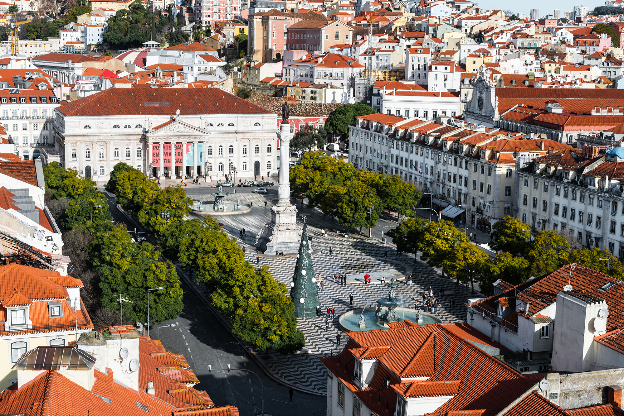 Aerial view of the rooftops of the Baixa district in Lisbon