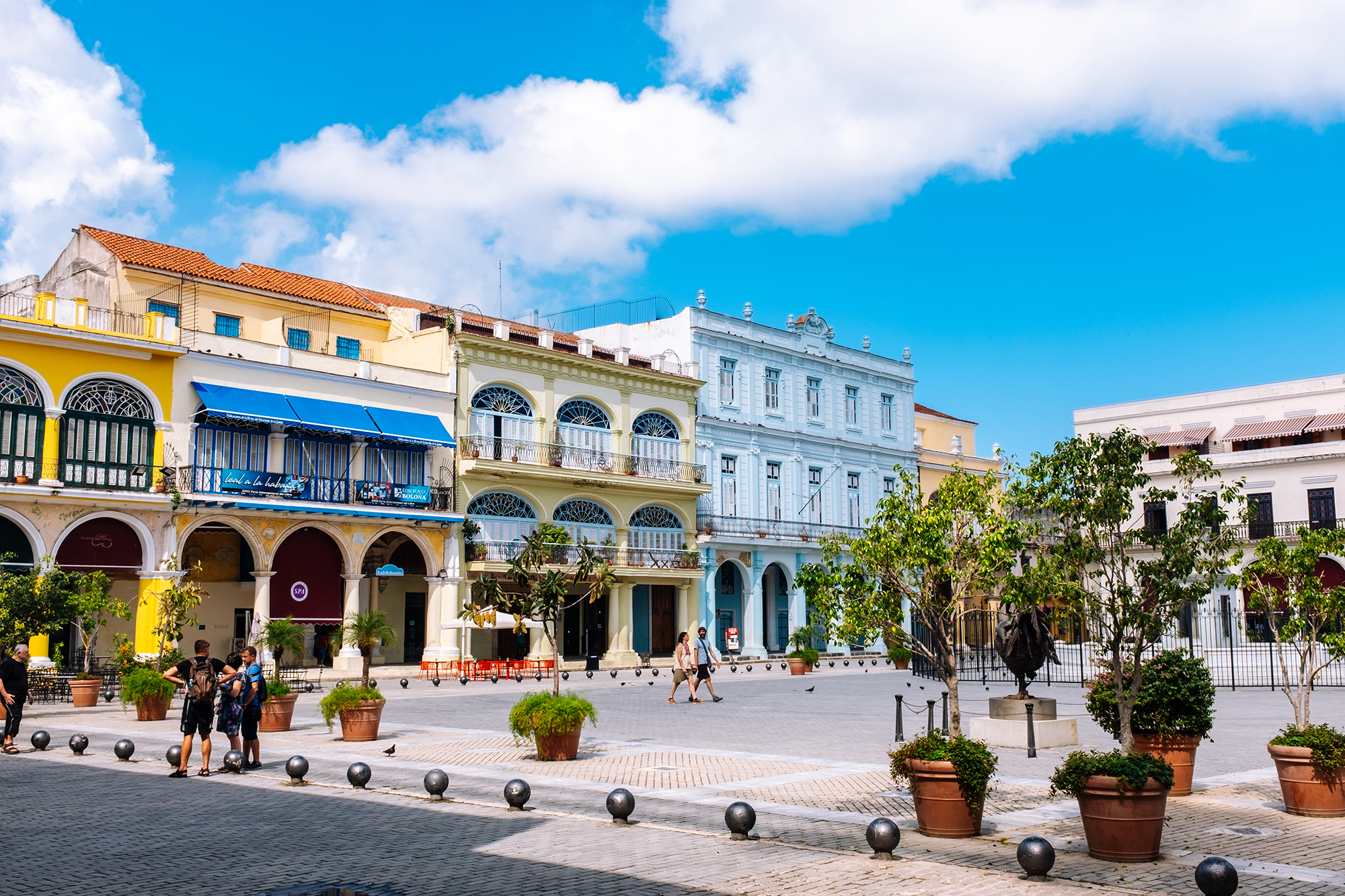 Colourful residences around the 16th-century colonial  Plaza Vieja square