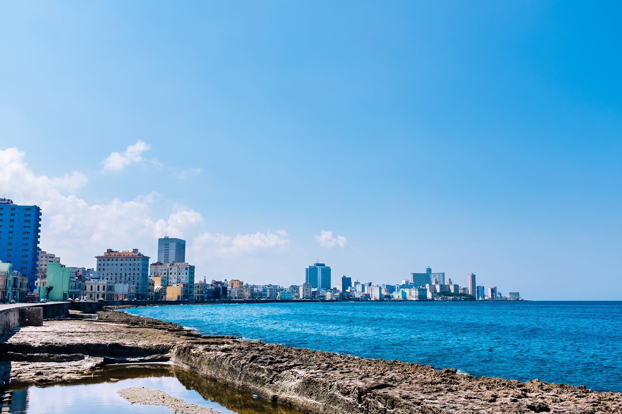 Panorama view of the broad esplanade of El Malecon in Havana