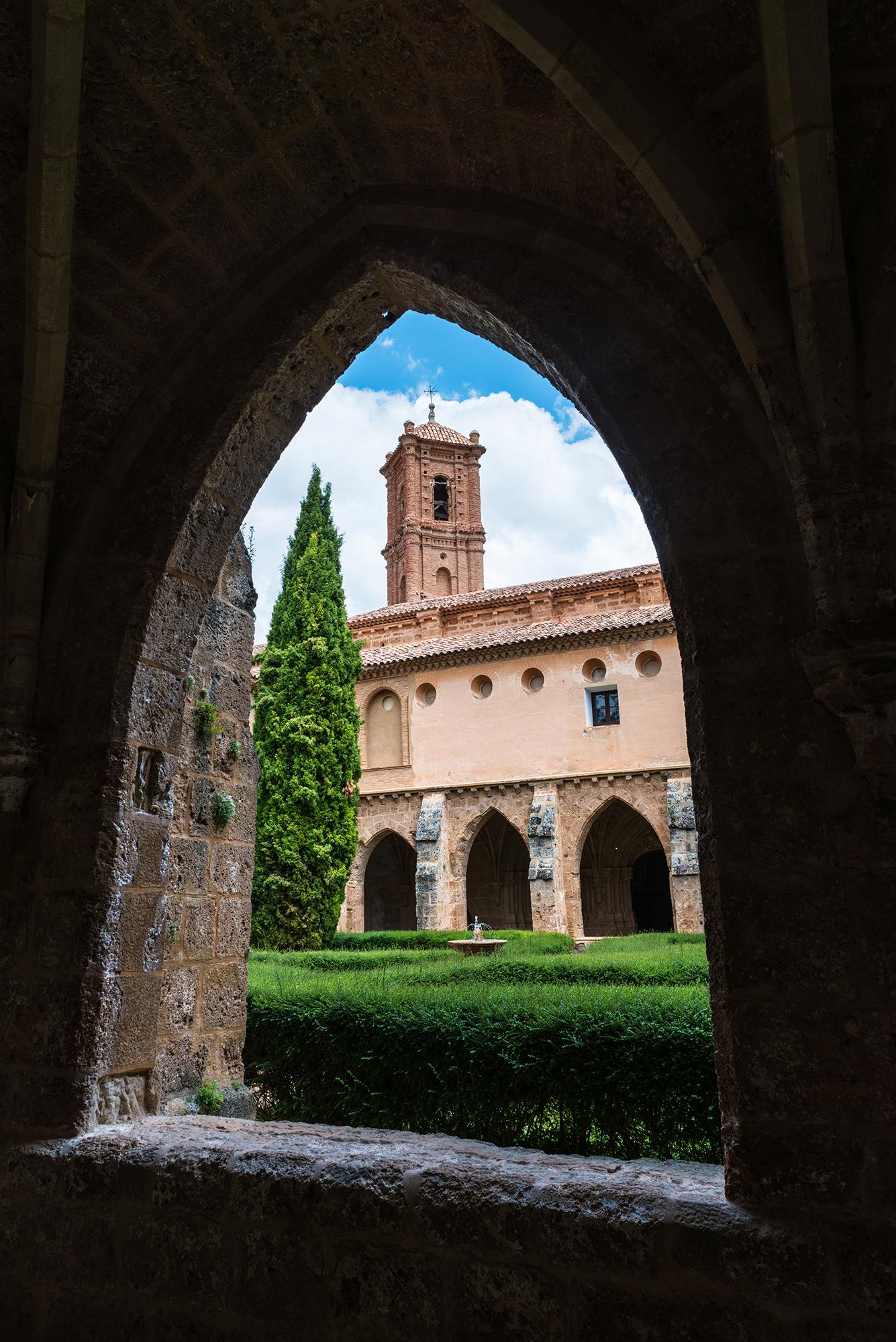 Corridor inside the cloister of the Monastery of Piedra