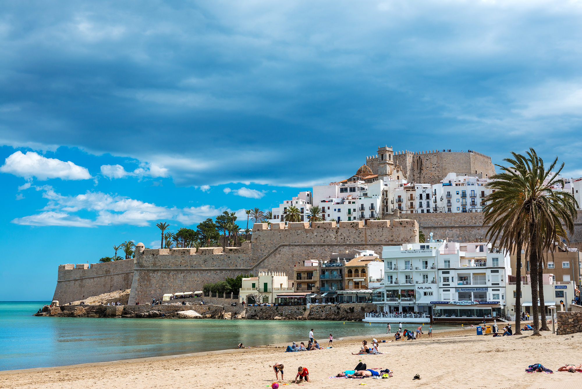 Panorama view of the fortified city of Peñíscola from the beach