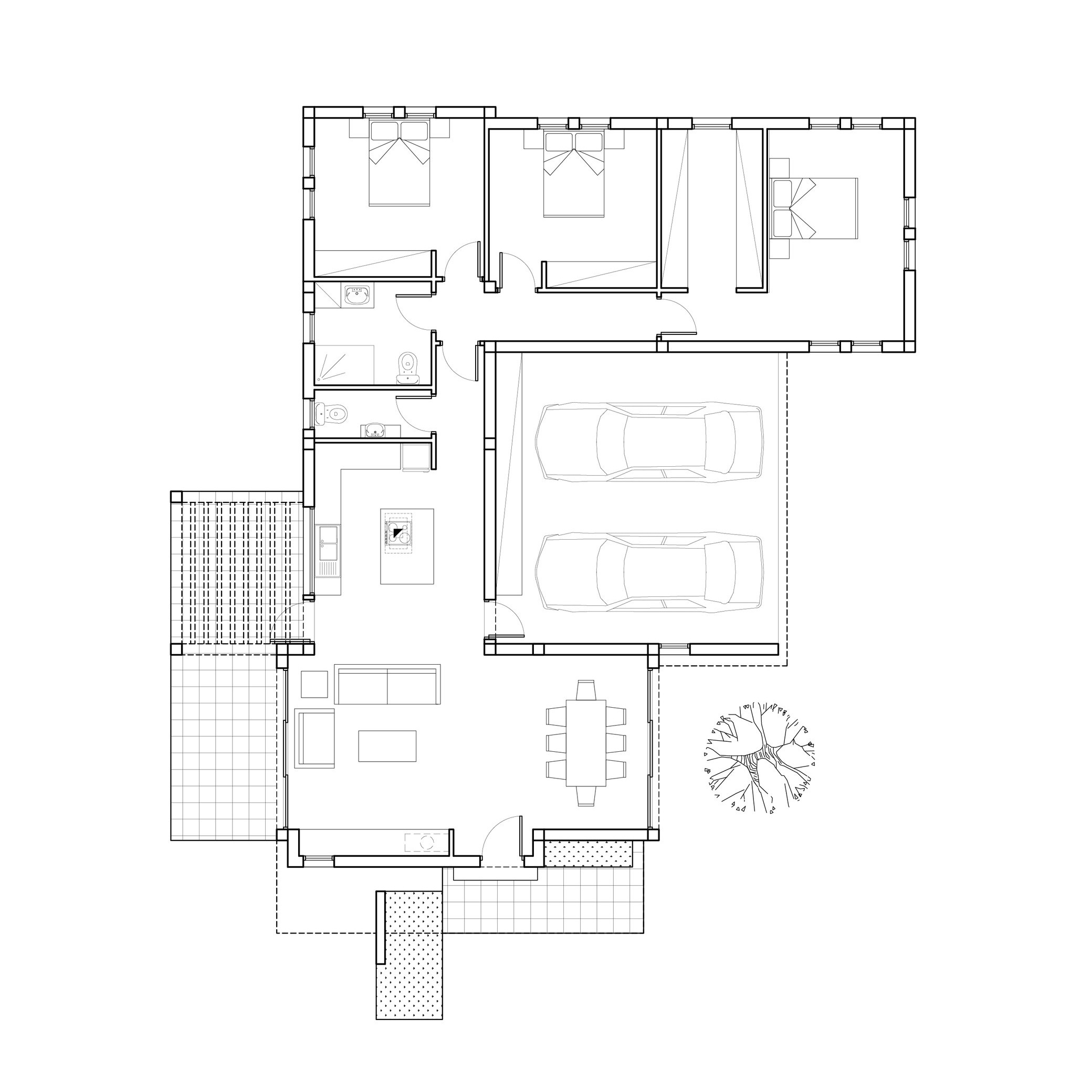 ARCHITECTURAL FLOOR PLAN - COMPACT FAMILY HOUSE