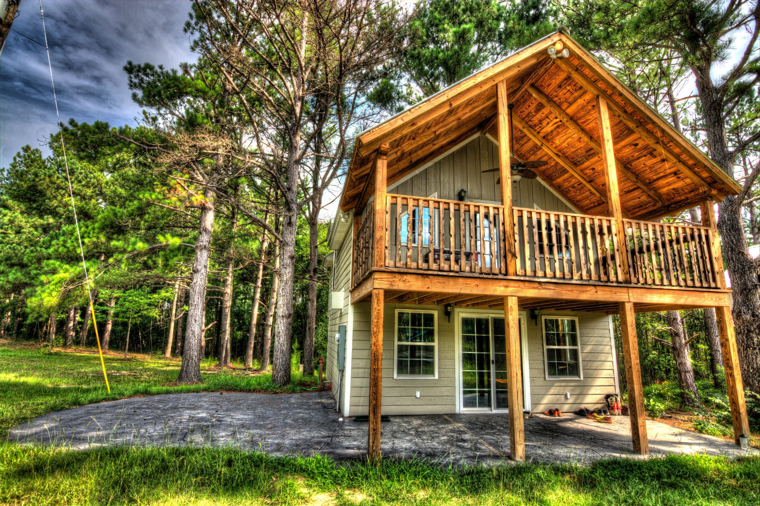 - $650 additionalDeluxe cabins-2 bedrooms, kitchen, bath, living, decks, patio, laundry.