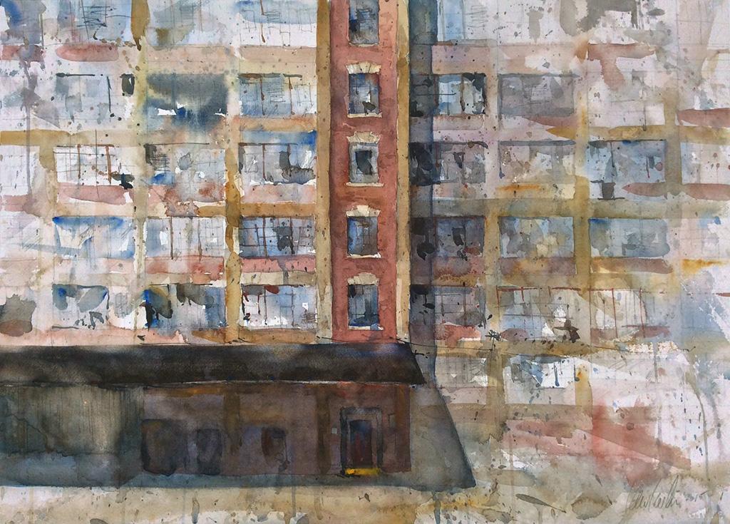 """Windows and a Door,"" by Ken Karlic, watercolor, 22 x 30 in."