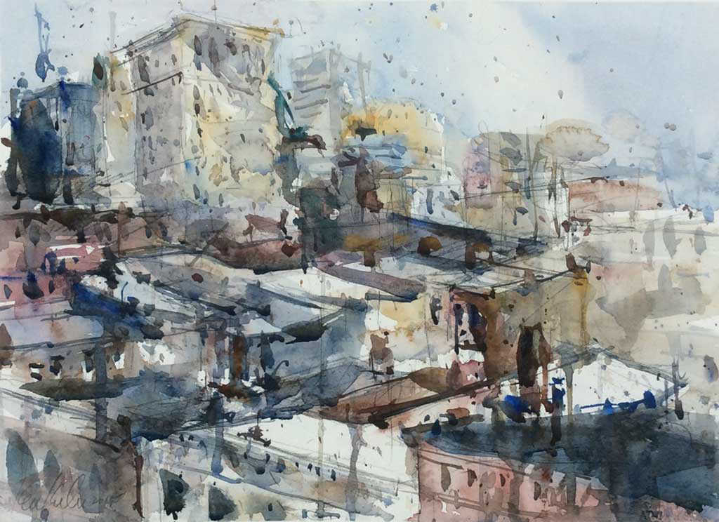 """""""View From the Fifth,"""" by Ken Karlic, watercolor, 11 x 15 in."""
