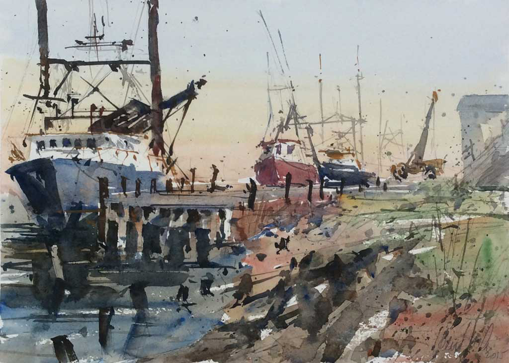 """""""After the Haul,"""" by Ken Karlic, watercolor, 11 x 15 in."""