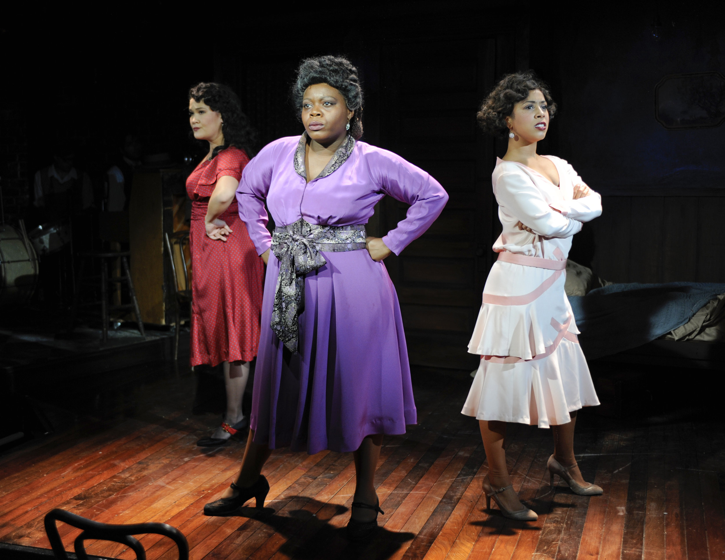Lili Thomas, Zonya Love and Halle Morse in Milwaukee Repertory Theater's 2012-13 Stackner Cabaret production of  Blues in the Night.  Photo by Michael Brosilow.
