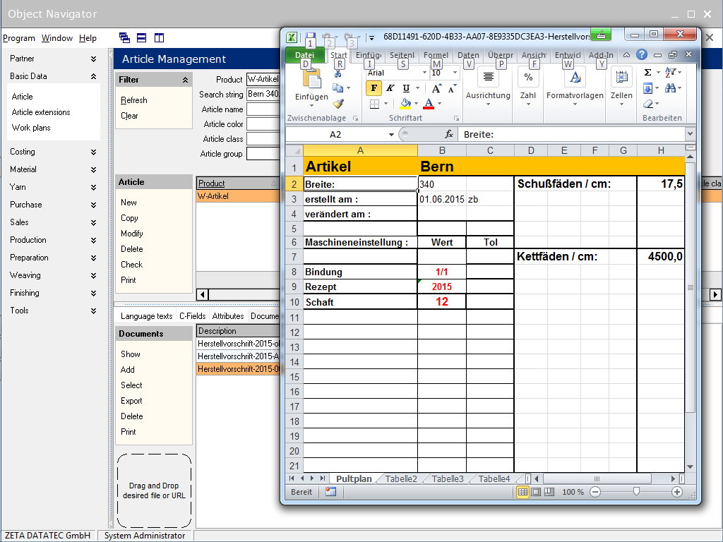 LOOMDATA ERP for the industrial production