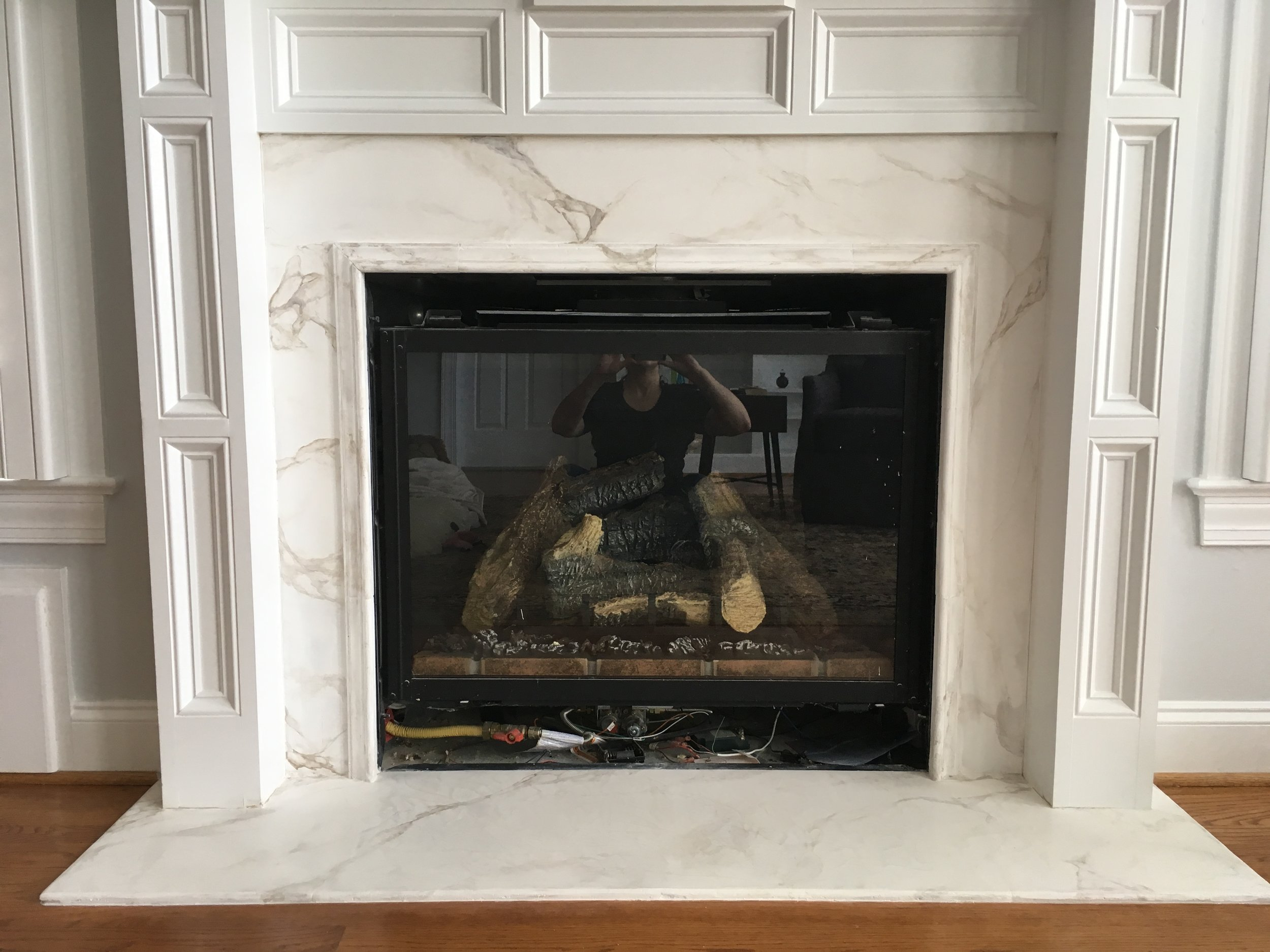 Faux marble mantle