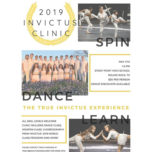 """Check this out! The 2019 Invictus Spin Clinic will be taking place Saturday, May 4th. Come take the floor with world class performers and gain the true Invictus experience! There will be a dance class, a world class weapon training session with Tracy Wooton, and several choreography classes including world class twirls from Invictus' 2019 program """"The Path of Totality"""". You'll even have the opportunity to learn choreography written by the cast of Invictus! All skill levels and groups are welcome to come learn how to be world class performers! #2019InvictusSpinClinic . . . . . #InvictUS #Invictus2019 #ThePathOfTotality #WGI #WGI2019 #TCGC #TexasColorguardCircuit #TCGC2019 #winterguard #colorguard #flag #rifle #sabre #dance #Austin #Texas #performingarts #nonprofit #spin #learn #clinic #training 📸: @zach_ashcraft @musicandmarching"""