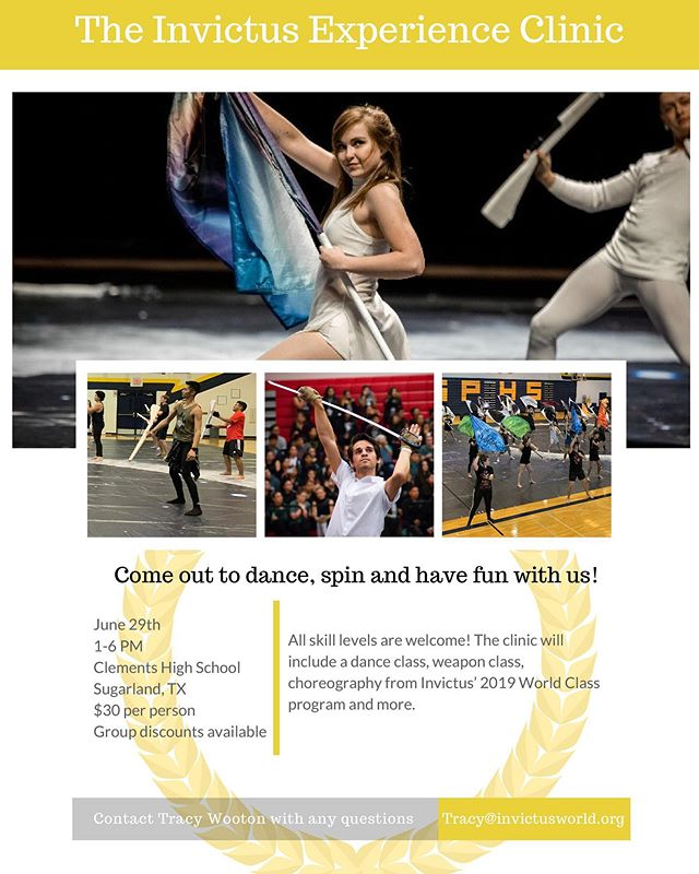 """Mark your calendars! We're going to have another clinic, this time in Houston! Come take the floor with world class performers and gain the true Invictus experience! There will be a dance class, a world class weapon training session with Tracy Wooton, and several choreography classes including world class twirls from Invictus' 2019 program """"The Path of Totality"""". You'll even have the opportunity to learn choreography written by the cast of Invictus! All skill levels and groups are welcome to come learn how to be world class performers! #2019InvictusSpinClinic . . . . . #InvictUS #Invictus2019 #ThePathOfTotality #WGI #WGI2019 #TCGC #TexasColorguardCircuit #TCGC2019 #winterguard #colorguard #flag #rifle #sabre #dance #Austin #Texas #performingarts #nonprofit #spin #learn #clinic #training 📸: @zach_ashcraft @musicandmarching"""