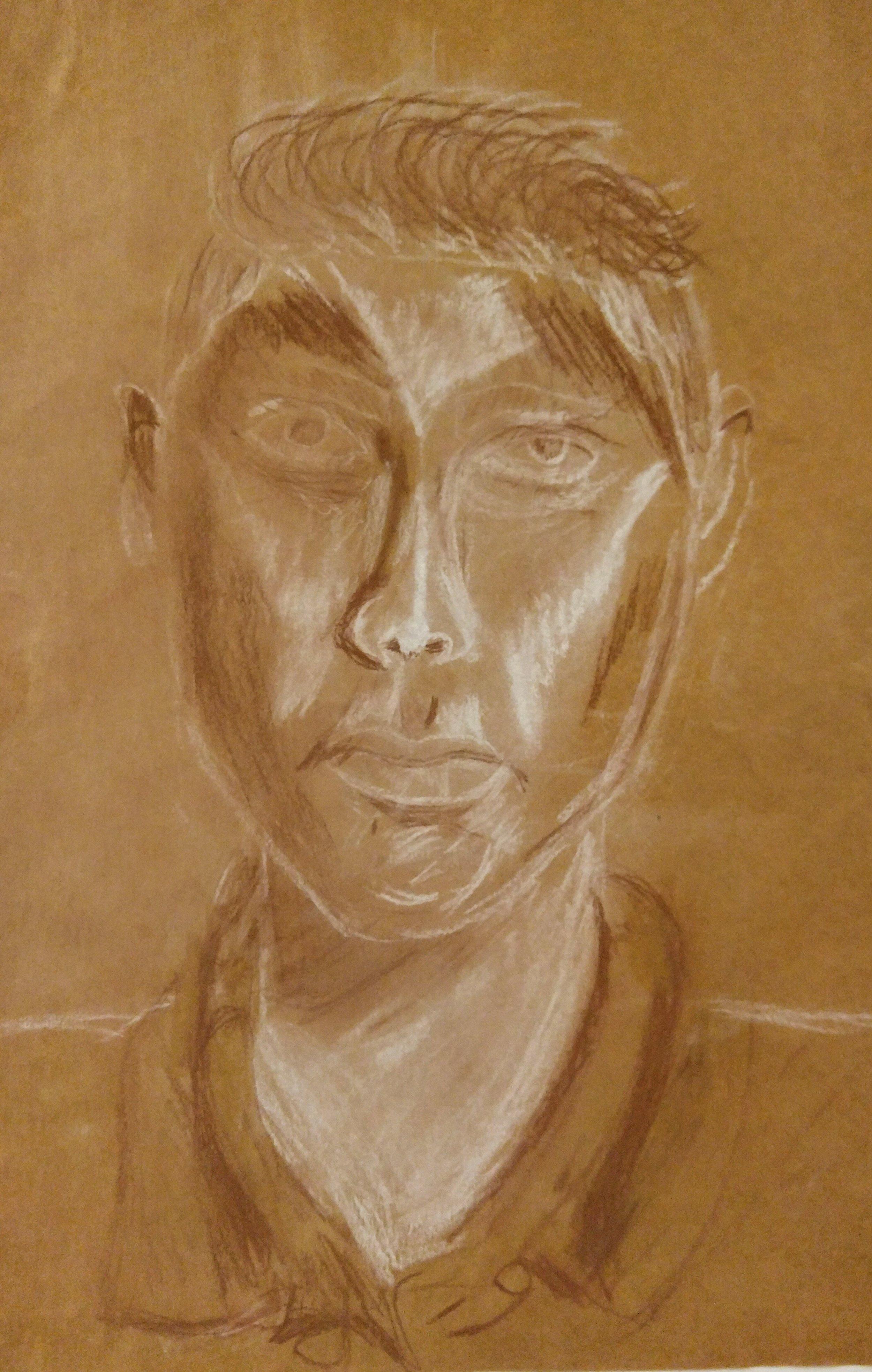 Ryan  Grade 5  Conte Crayon on Toned Paper