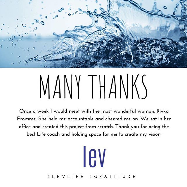 GRATITUDE // Once a week I would meet with the most wonderful woman, Rivka Fromme. She held me accountable and cheered me on. We sat in her office and created this project from scratch. Thank you for being the best Life coach and holding space for me to create my vision. #gratitude #LEVlife #thankfullness #LevridgeBeverage #mindandbody #gratituesday