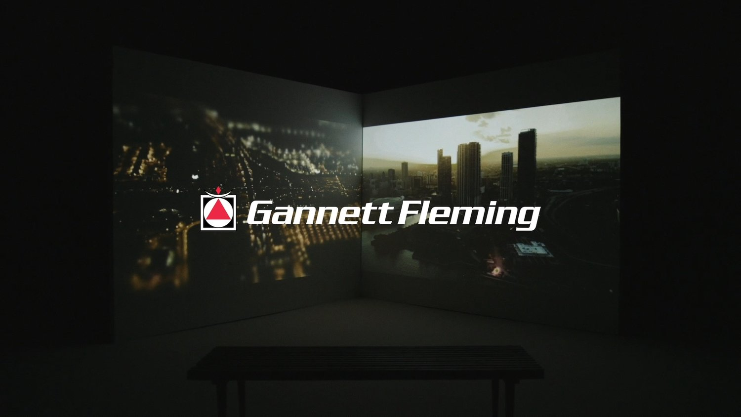 GANNETT FLEMING LOGO WITH PROJECTOR BACKGROUND