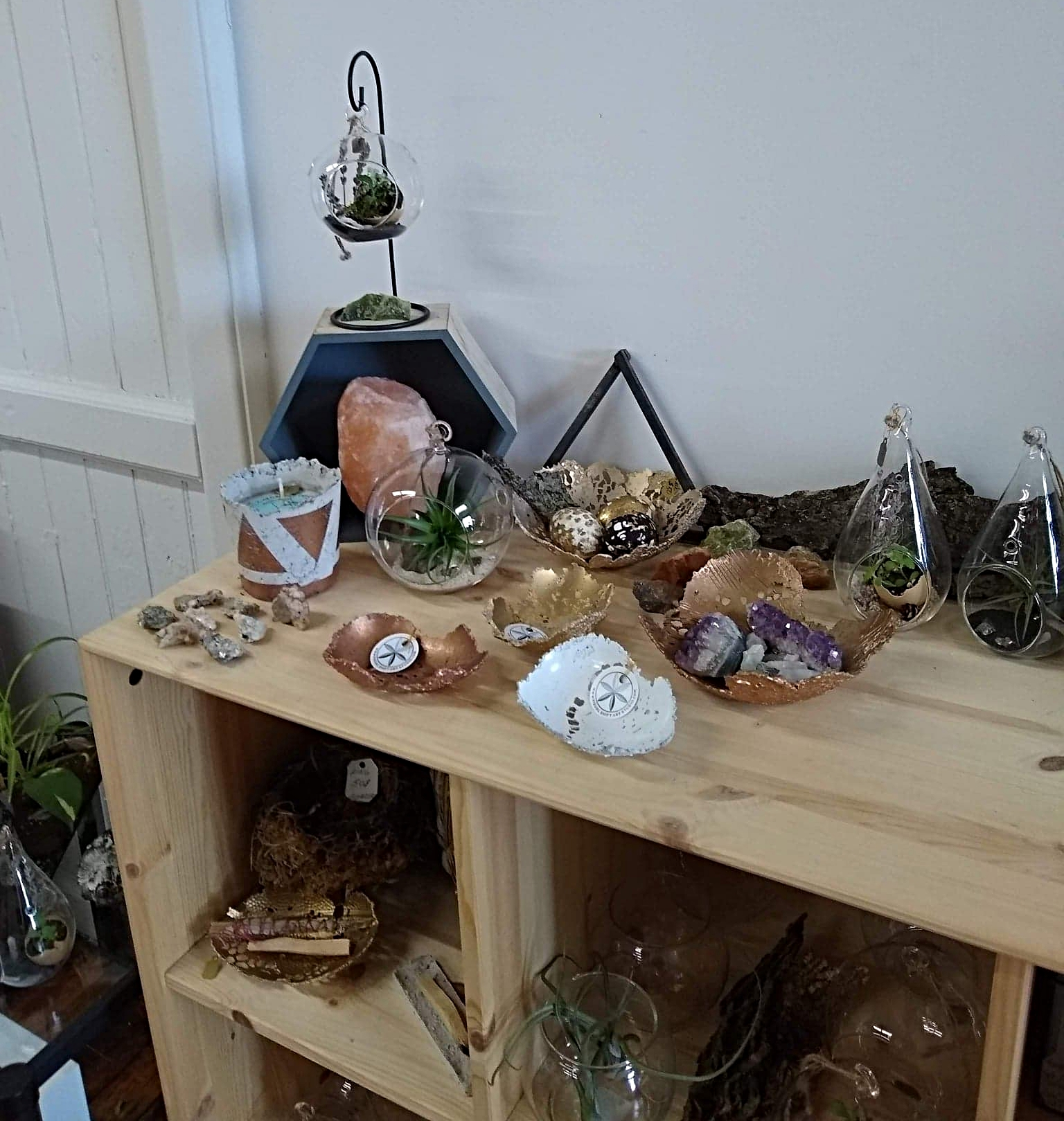 Some of Alyssa's sculptural work displayed in her studio - visit anytime at Hope Artiste Village Suite 1205!