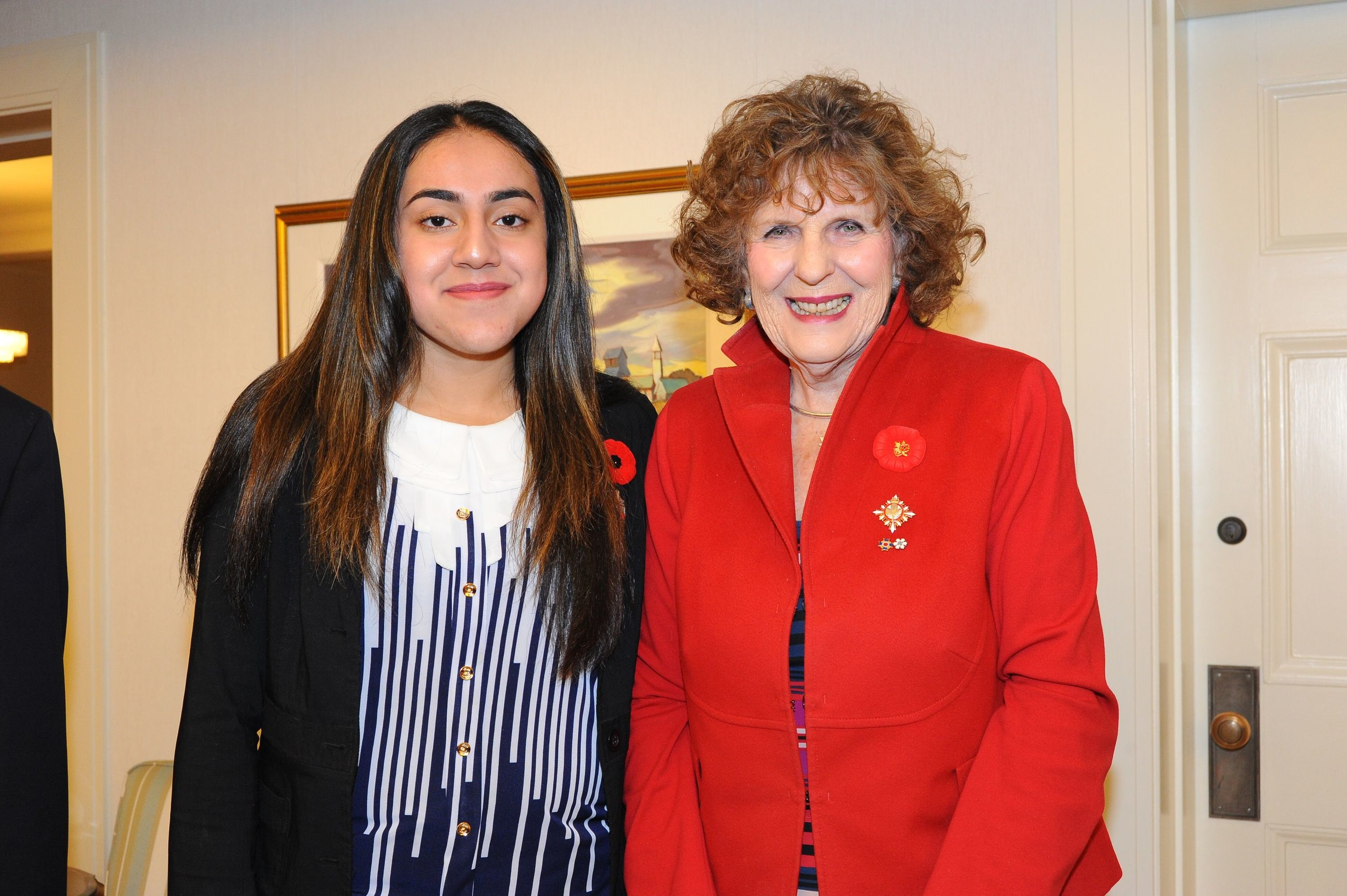 SPIRIT of Peace contest first prize winner Ghalia Aamer and Lieutenant Governor Lois Mitchell.