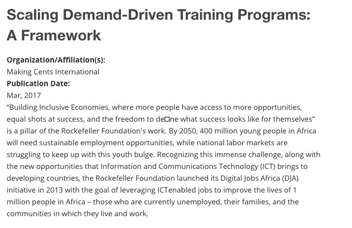 Scaling Demand-Driven Training Programs Framework
