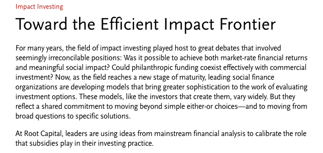 SSIR: Toward the Efficient Impact Frontier