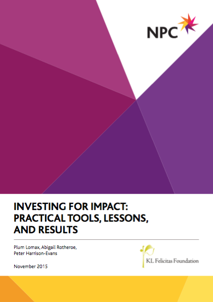 Investing for Impact: Practical Tools, Lessons, and Results (NPC)