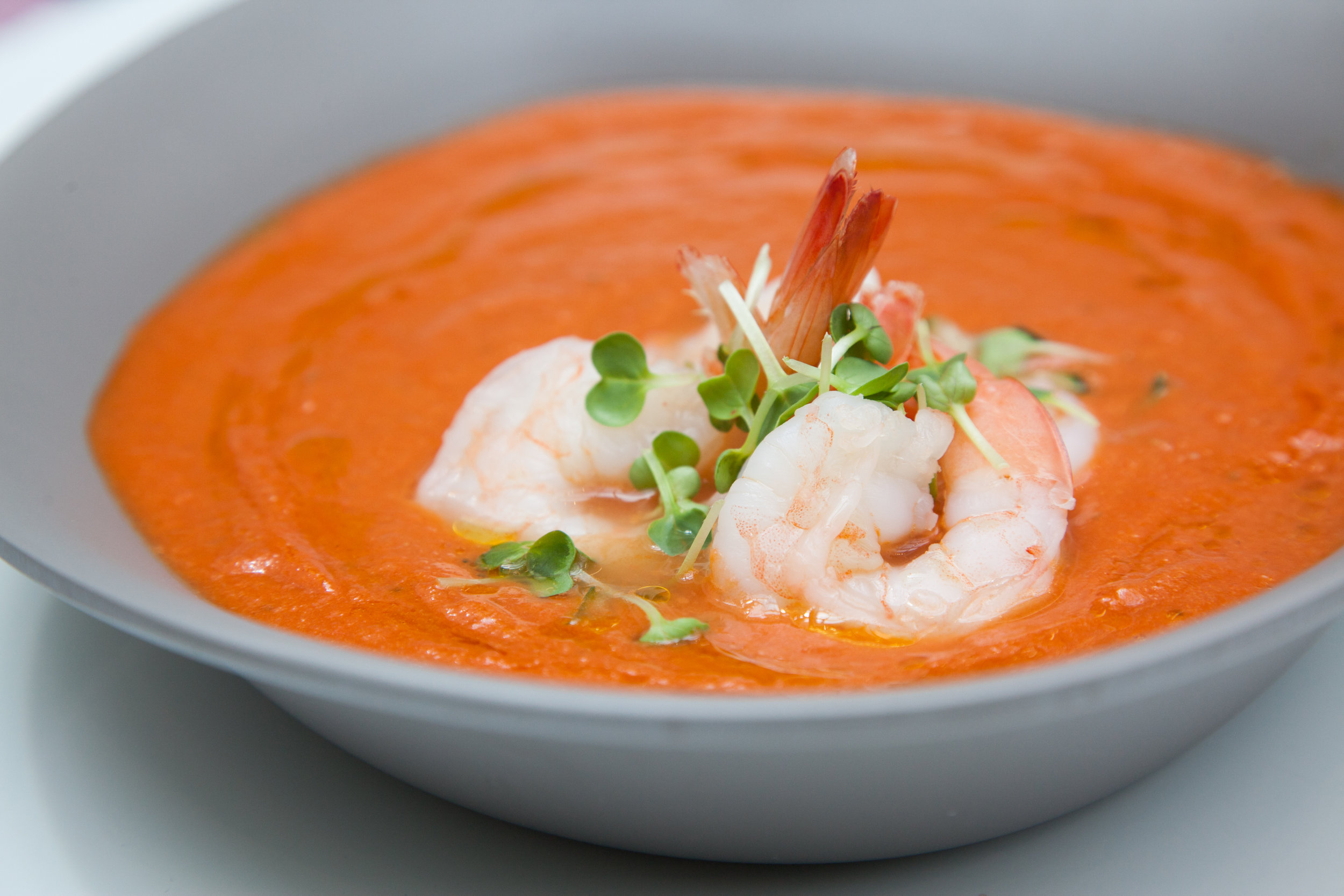 Gazpacho w/ poached shrimp by Chef Berry. Photo by  Meeks Media