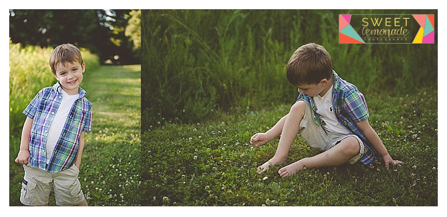 A little boy in plaid shirt picking some weeds