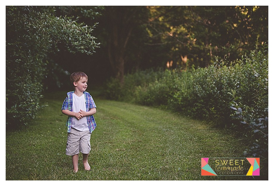a boy in the woods exploring