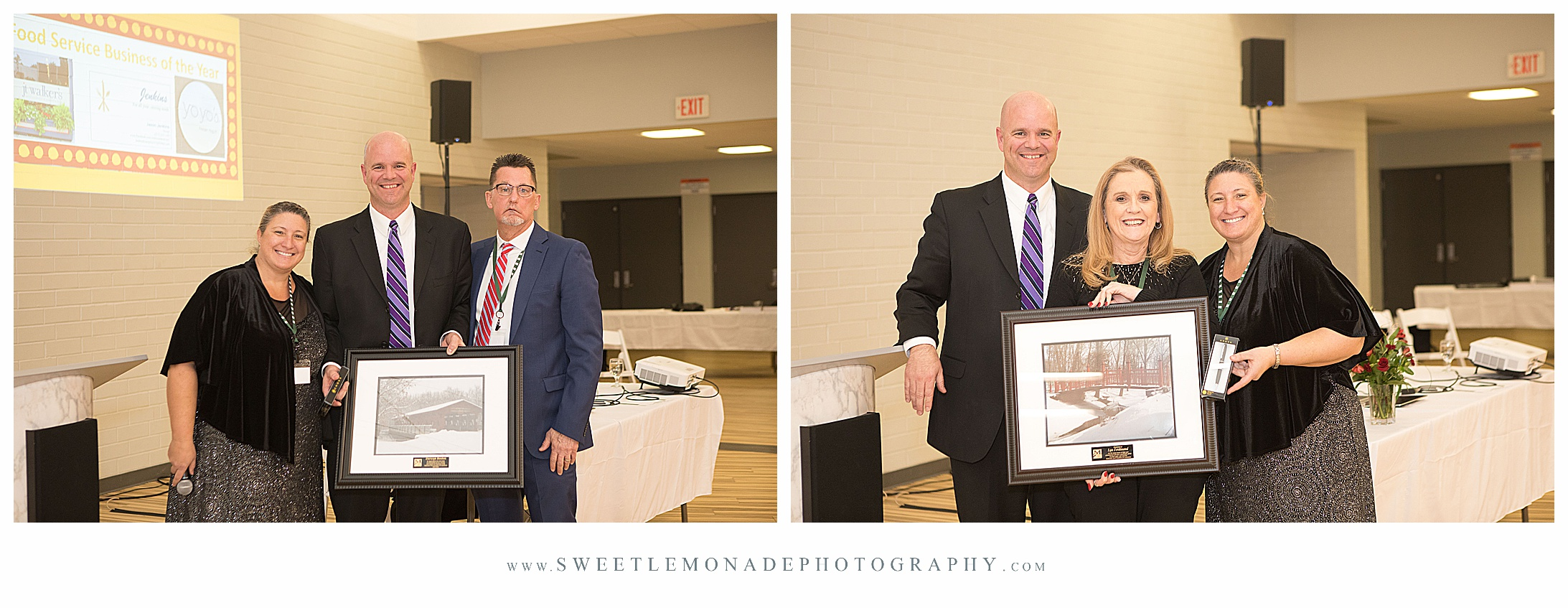 In addition to Lynn, pictured in right photo, Angela Barden and Walter Pierce also recognized Darwyn Boston, State Farm Agent, as outgoing MACC president.