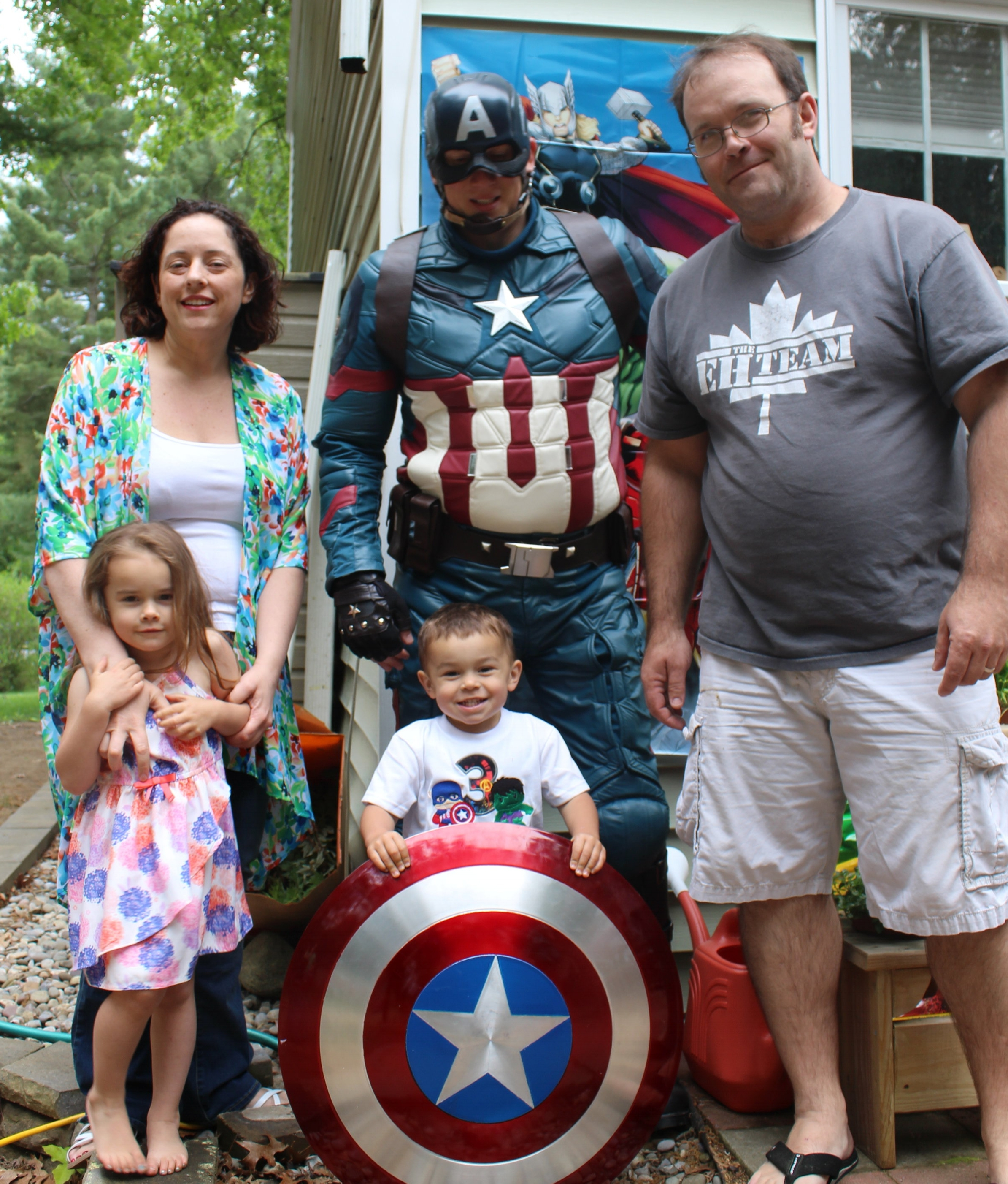 Dr Aimee Heidt and her family (plus Captain America cameo)