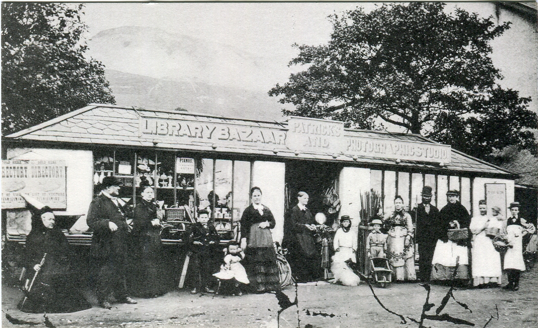 Photograph of Patrick's Bazaar, one of the first shops in Pant yr Afon. -