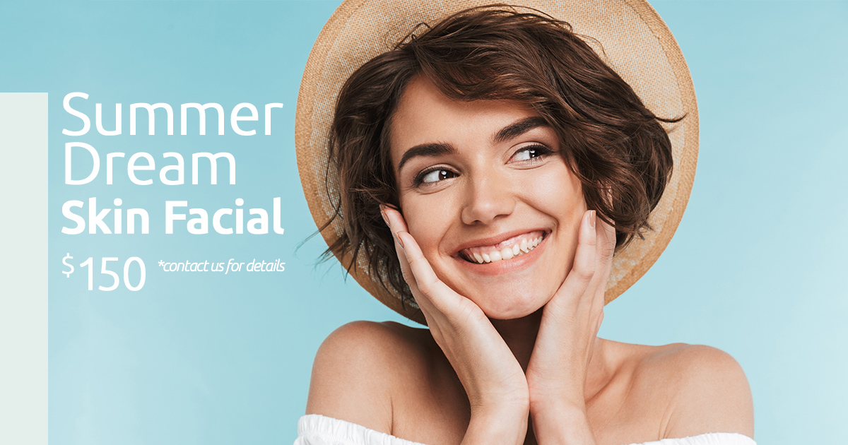 Summer Dream Skin Facial - $150   Start summer off right with our Summer Dream Skin Facial which includes an OxyGeneo Polishing Facial and Dermaplaning to polish your skin to perfection and remove unwanted texture and hair. Valued at $245.    Book your appointment here   promo code: EP1-1906