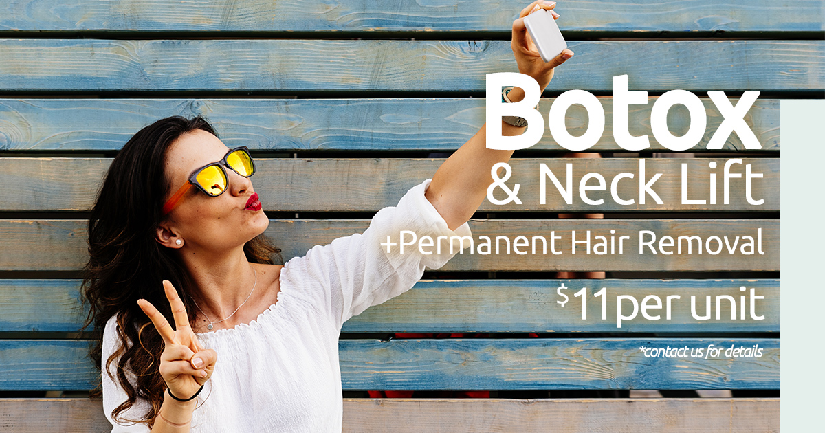 Botox & Botox Neck Lift $11per unit   Perfect your summer selfies with our Botox and Botox Neck Lift treatments at just $11 per unit, and as an added bonus, you get Permanent Hair Removal on a small area (example: above the lip, chin, or underarms).    Book your appointment here   promo code: EP2-1906