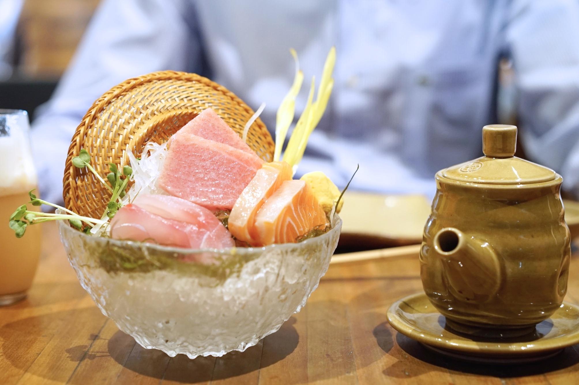 An assortment of sashimi at Maido.