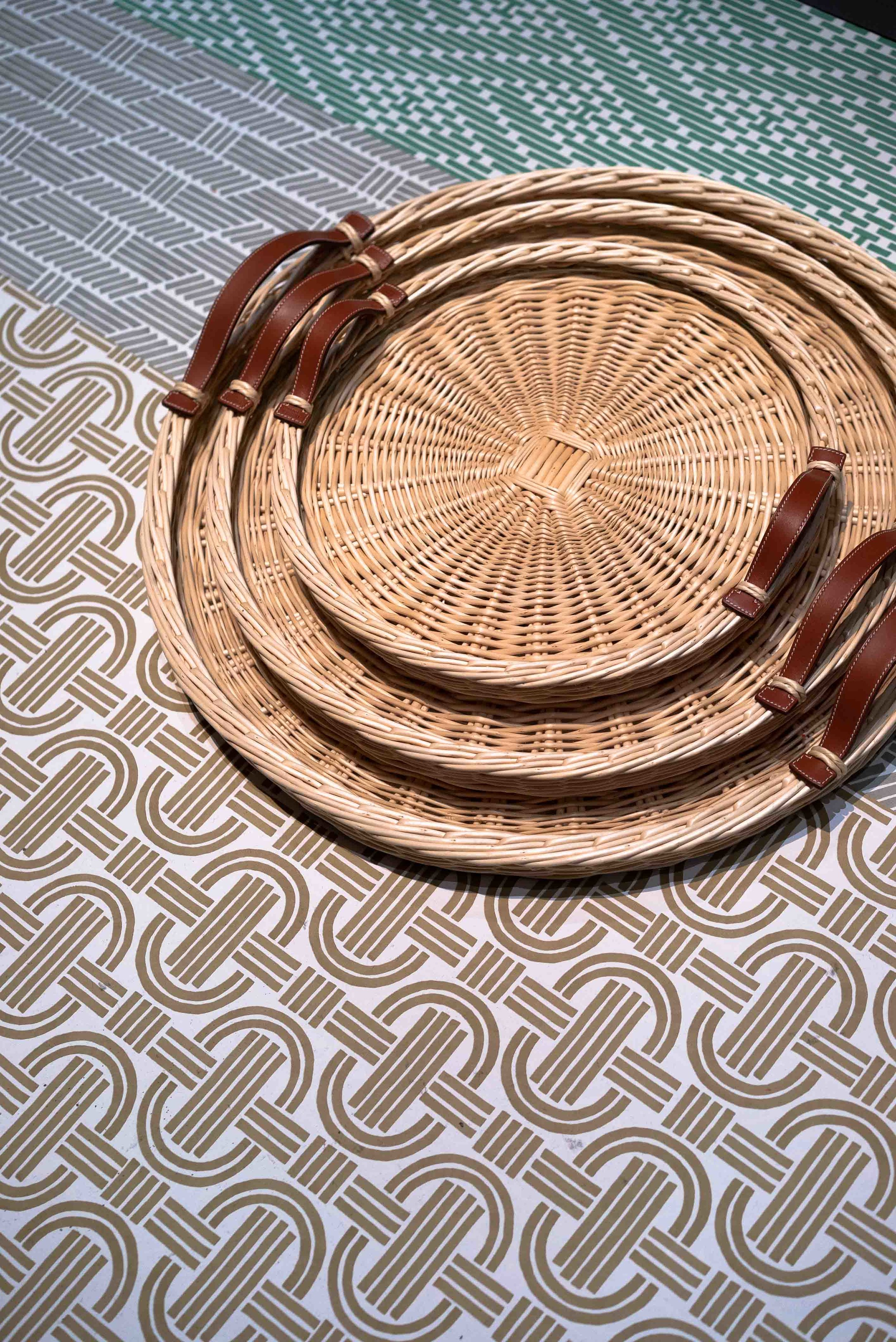 Park and Oseraie - A tray that combines the vernacular skill of basketry with simple lines enhanced with natural leather handles.
