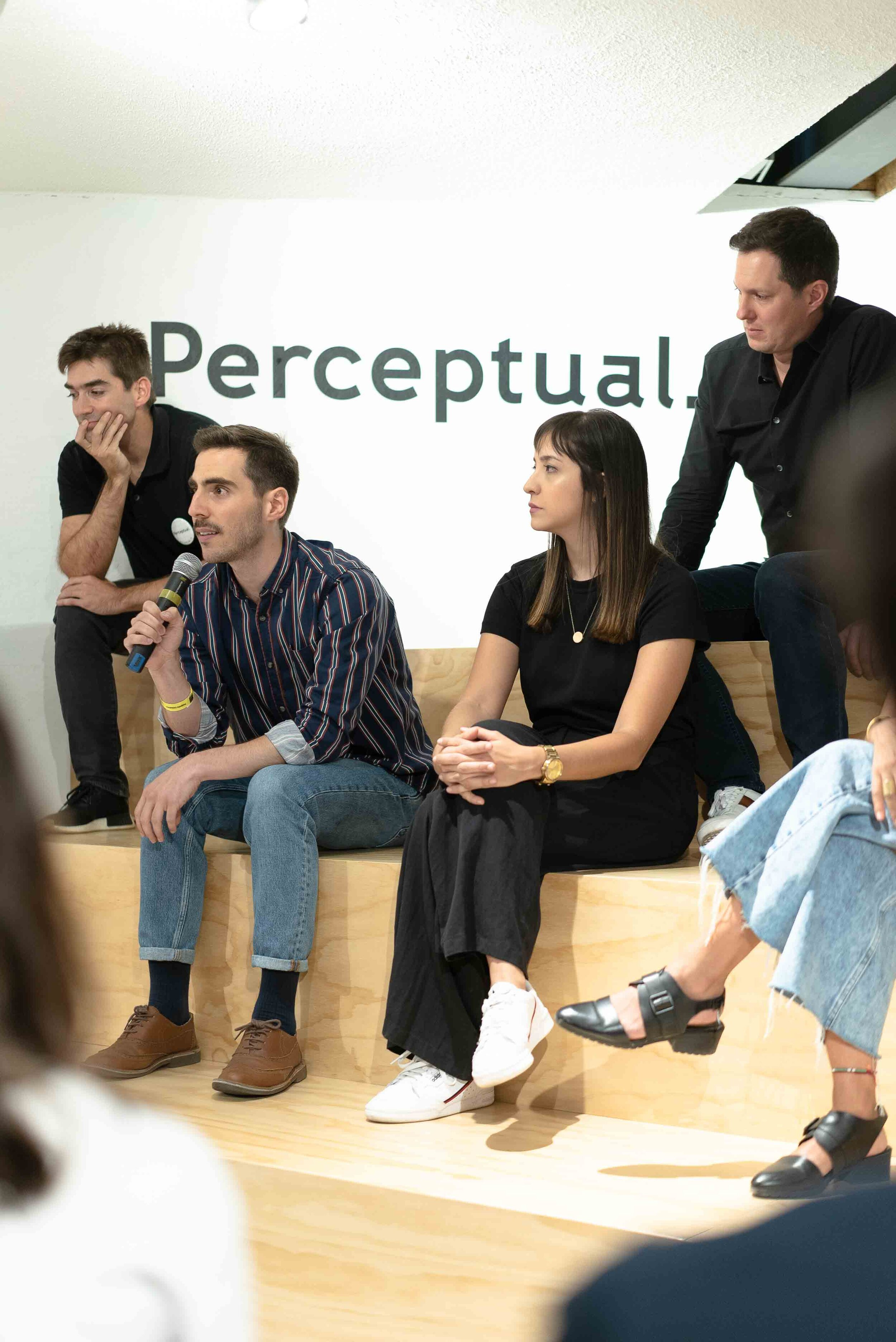 Ballen and Pardo in a talk at Perceptual the night of the launch.