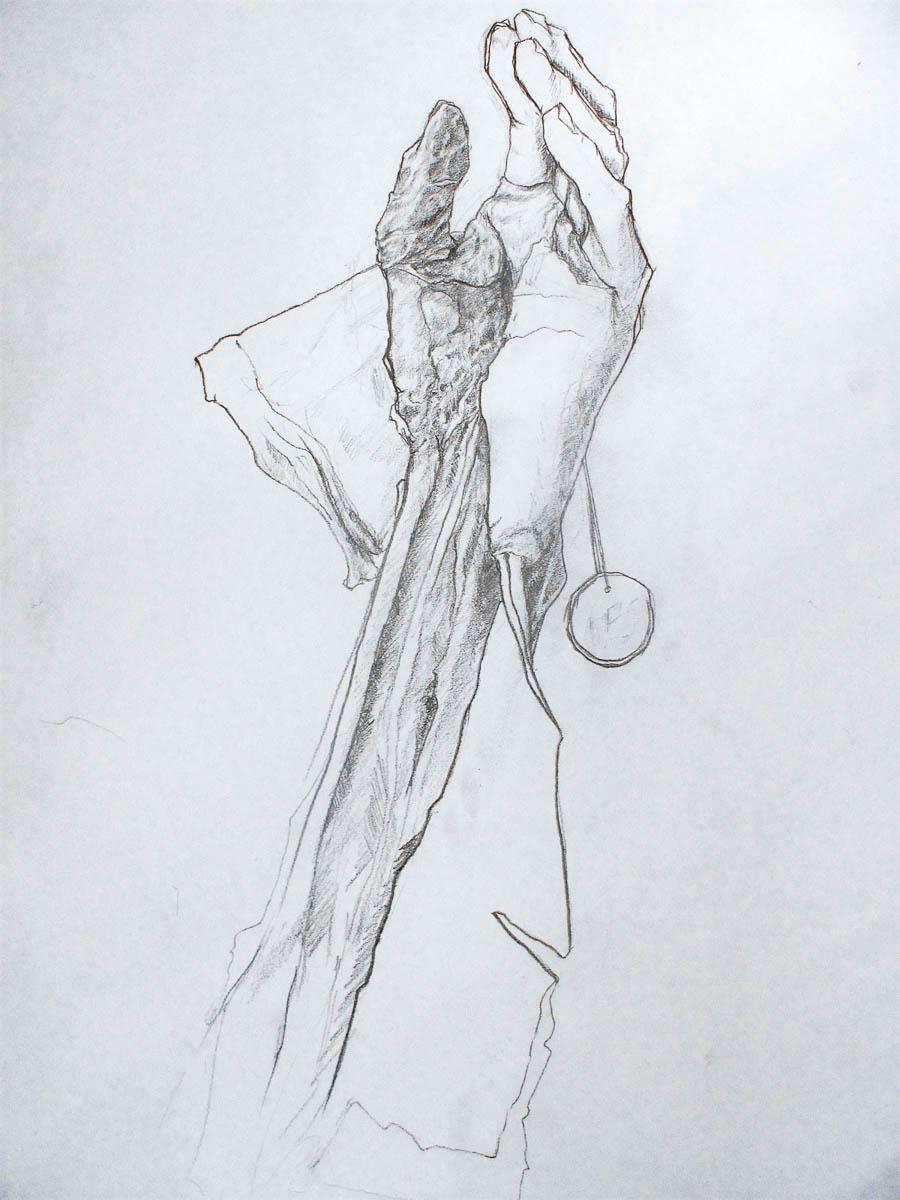 mano izquierda. lapiz sobre papel. 45 x 35 cm
