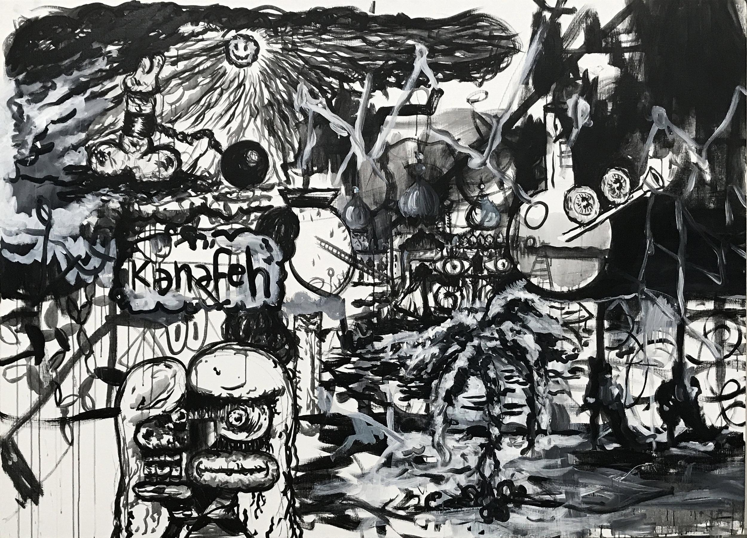 Kanafeh 2018 Acrylic on linen. 200x144,5cm