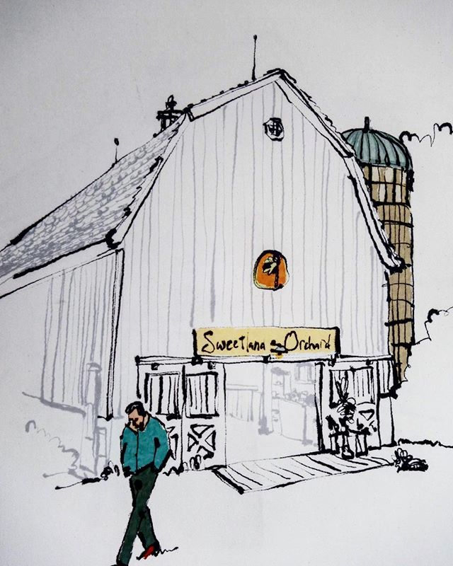 Take a look at this awesome sketch from @wacso_was_here — lover of cider donuts — that we got in the mail this week. We knew it was Mike's dad right away, walking with his hands in his pockets.