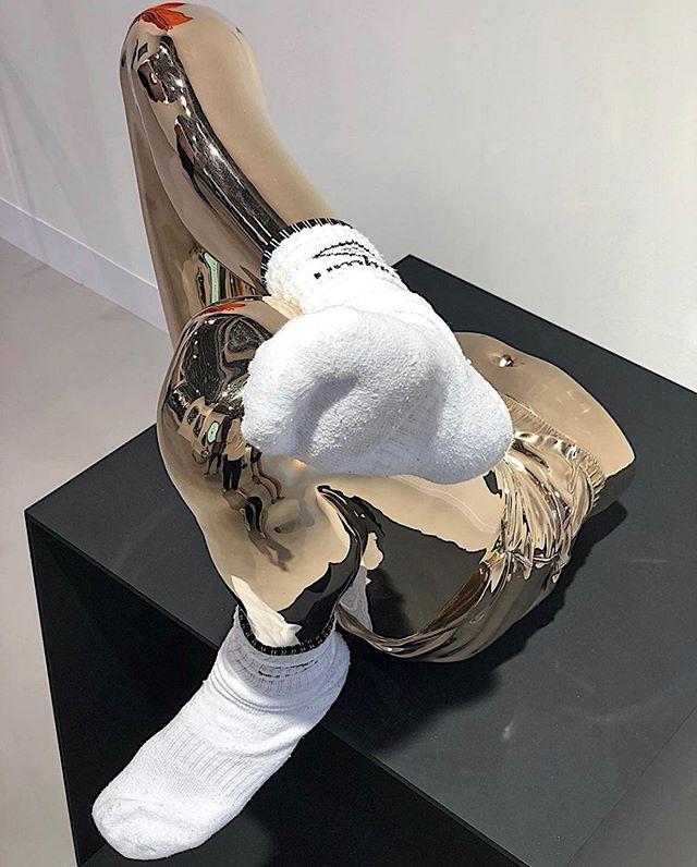 M O O D  Sculpture via @ArtBasel 50th Edition Art Show in #baselswitzerland  #NameThisArtist  #artbasel #art #artistsoninstagram #artist #sculpture #artshow #basel #baselart #socks #gold
