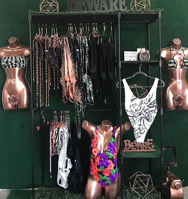 In honor of Swimweek we would like to shout out our veteran swim brand! @BEWARE_SWIMWEAR! We love bringing artist visions to life & Beware did her thing with her #ARTBasel2017 installation!What creative ideas do you have in store !? Let us showcase it 🤗 . . . #wearableart #fashion #swimweek #miamiswimweek #fashion #swimwear #rosegold #installation #creative #swimmingpool #vacationvibes
