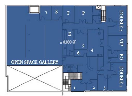 SECOND FLOOR    S - Storage | P - Private    K - Kitchen | T - Terrace    BO - Buyer's Office | VIP Suite    Open Space Gallery 50 ft x 53 ft (W)    Activation Suites 1 - 10 ft x 12.5 ft x 9 ft    Activation Suites 2 - 9 ft x 12 ft x 9.5 ft    Activation Suites 3 - 16.5 ft x 9.5 ft x 11 ft    Activation Suites 4 - 22 ft (L) x 12 (W)    Activation Suites 5 - 13 ft (L) x 12 ft (W) & 13 ft Mirror Wall    Activation Suites 6 - 12.5 ft (L) x 5.8 ft (W)    Activation Suites 7 - 11.5 ft (L) x 9 ft (W) - Black Room    Double Activation Suites 1    Double Activation Suite 2