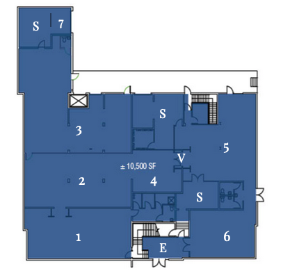 FIRST FLOOR    E - Entrance with Welcome Desk    S - Storage    V - Digital Area ( 4 Screens )    Room 1 - 7