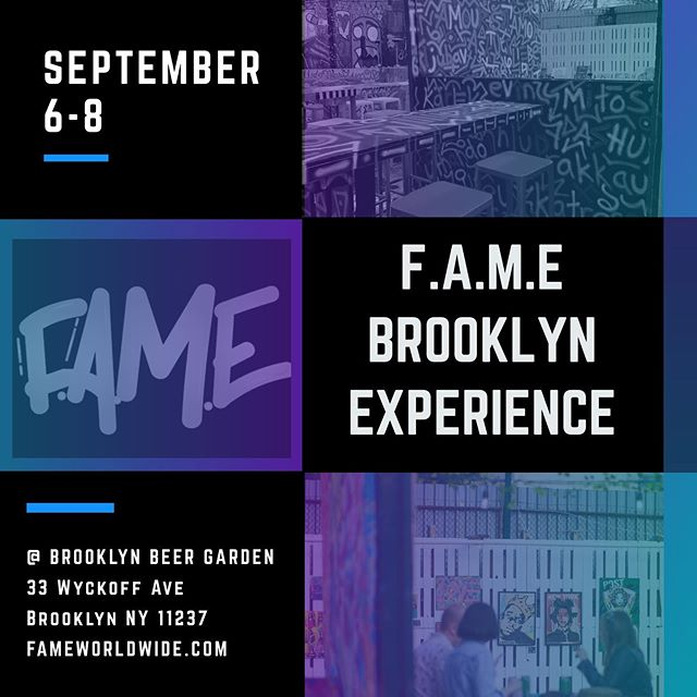 Back in 2013 F.A.M.E featured this concept in #NYC in the Hells Kitchen area with an amazing collective of creatives. Now we are returning back as an Experience like no other.  For 3 days during the kick-off of #NYFW @fame.worldwide is collaborating with @brooklynbeergarden to host the F.A.M.E Brooklyn Experience featuring #Fashion #Art #Music and #InteractiveExperiences with a #Gallery & #ConceptStore #Popup in an amazing #BeerGarden  Did we mention it's Free & we have a #Raffle contest with #RSVP via FAMEBrooklyn.eventbrite.com  #fameworldwide #brooklyn #brooklynbeergarden #supportlivingartists #fame #newyork #bk #bushwick
