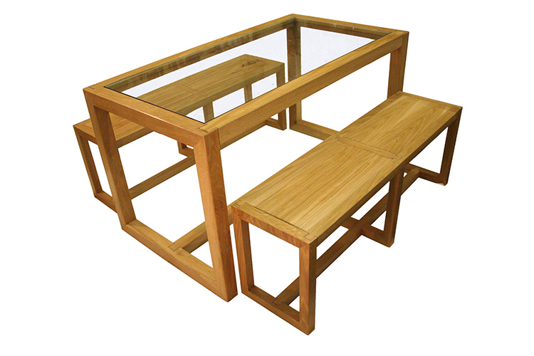Oak and Glass Table and Benches