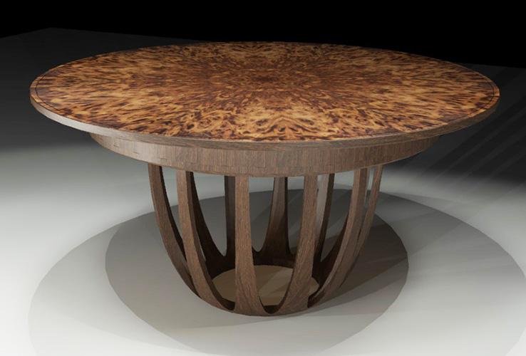 Computer Rendering of Brown Oak burr Dining Table