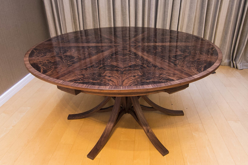 Walnut Curl Expanding Circular Dining, Round Expanding Dining Table