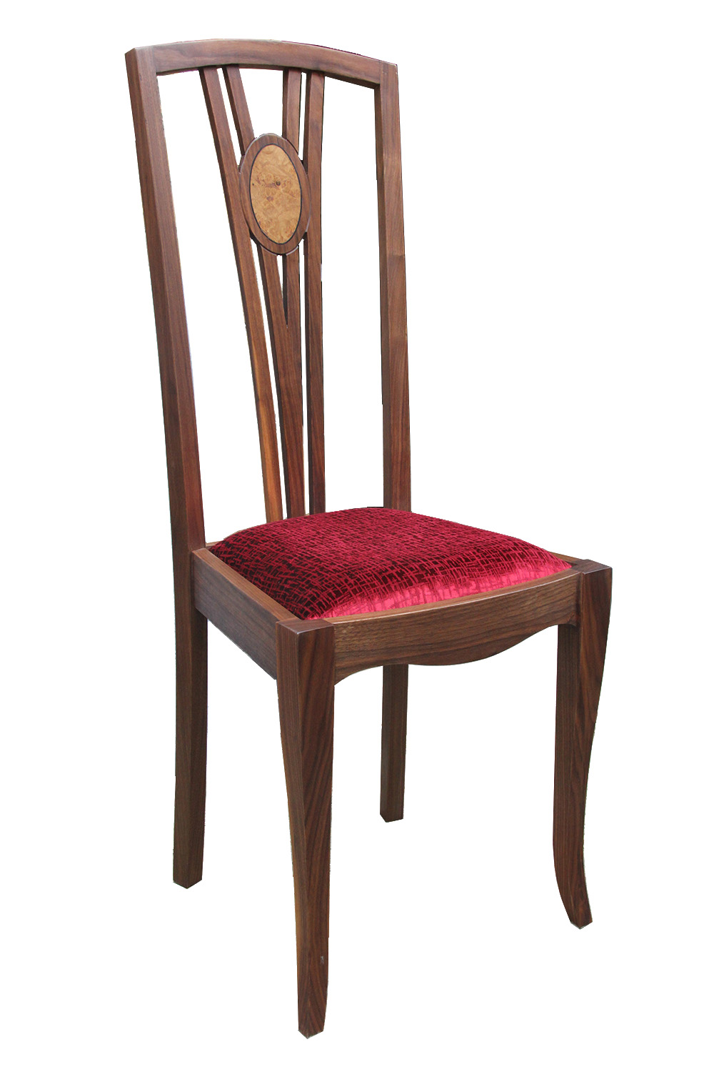 Walnut and burr oak dining chair